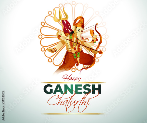 Canvas Print vector illustration for Indian festival Ganesh Chaturthi with text Ganesh Chaturthi means Ganesh Chaturthi