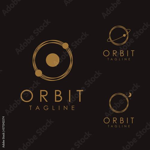 Set of Abstract minimalist motion orbit logo icon vector template on dark backgr Canvas-taulu