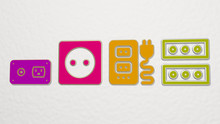 SOCKET 4 Icons Set - 3D Illustration For Background And Electric