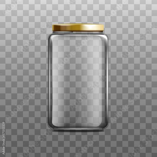 Glass clear empty jam jar with lid realistic vector mockup illustration isolated Billede på lærred