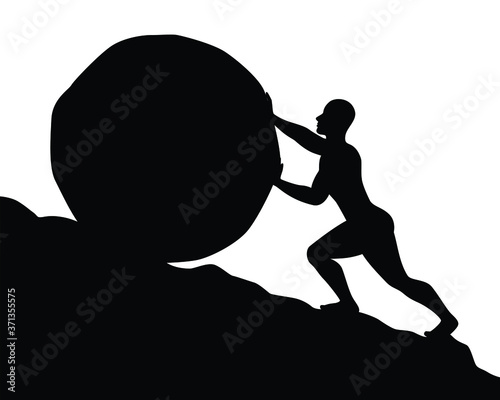 Obraz na plátně Silhouette of man pushing big boulder uphill on white background