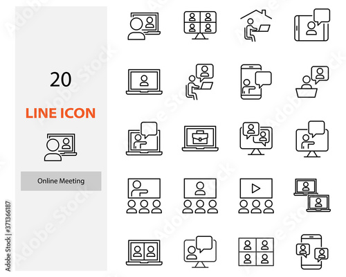 Fotografiet set of video conference icons, online meeting, work at home, online education