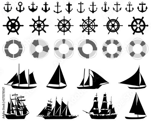 Платно Icons  of anchores, rudders, lifebelt, sailboats on a white background
