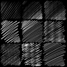 Hatching Hand Drawn Set On Black