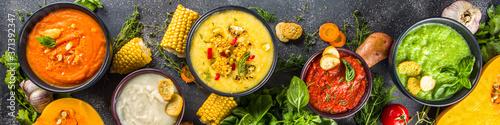 Fotografering Different autumn soups set