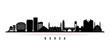 Bursa skyline horizontal banner. Black and white silhouette of Bursa City, Turkey. Vector template for your design.