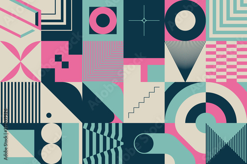 Do restauracji   retro-future-pattern-design-with-abstract-vector-shapes