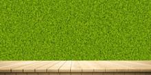 Colorful Wooden Platform Landscape: Vertical Garden/ Green Leaves Wall.  (3D Rendering Computer Digitally Generated Illustration.)