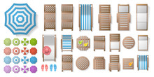 Icons Set. Outdoor Furniture And Patio Items. (top View) Isolated Vector Illustration. Tables, Chairs, Sunbeds, Umbrellas. (view From Above).