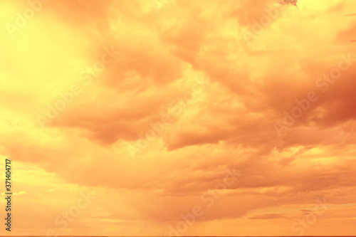 Fototapety, obrazy: orange sky sunset clouds background, abstract warm background summer sky air