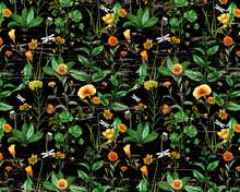 Watercolor Wildflowers On Wood Texture