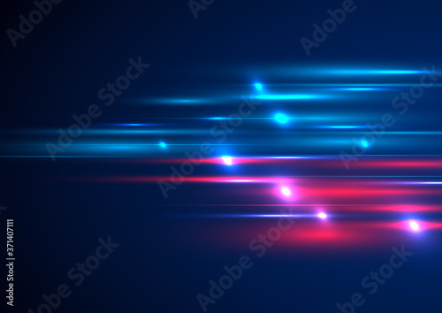 Fotografie, Obraz Abstract technology futuristic lighting effect speed motion on blue background with space for your text