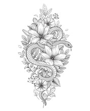 Vector Twisted Snake And Wild Flowers