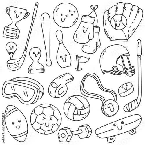 Fototapeta sport equipment doodles in kawaii line art style