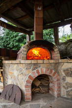 Burning Firewood In A Furnace, Embers, Glowing Coals.