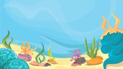 Fototapeta na wymiar Ocean floor in cartoon style. Beautiful underwater world.