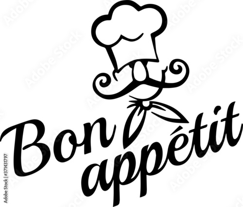 Fototapeta bon appetit logo sign inspirational quotes and motivational typography art lettering composition design obraz