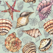 Watercolor Hand Drawn Artistic Colorful Undersea Ocean Life Seamless Color Pattern