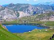 The alpine lake Melchsee or Melch Lake in the Uri Alps mountain massif, Kerns - Canton of Obwald, Switzerland (Kanton Obwalden, Schweiz)