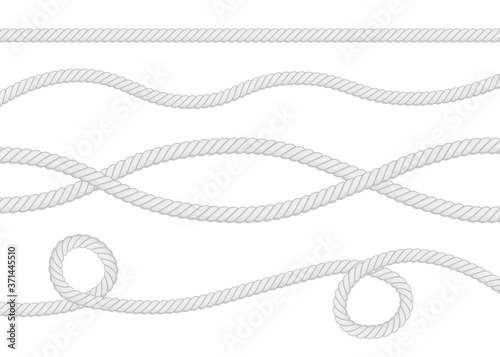 Fototapeta Set of different thickness ropes isolated on white
