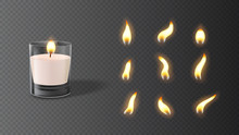 Realistic Wax Candle In Glass With Set Of Flames. Vector Illustration With 3d Burning White Candle Isolated On Checkered Background.
