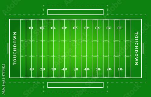 Fotografia Flat green american football field