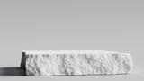 Fototapeta Kamienie - White stone rough plate object display podium. 3d rendering