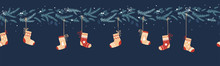 Lovely Hand Dawn Seamless Christmas Garland With Branches And Stocking, Great For Banners, Wallpapers, Cards Textiles - Vector Design
