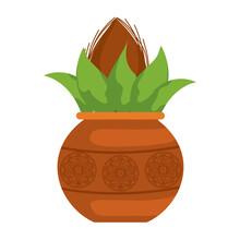 Kalash With Coconut And Mango Leaf Vector Illustration Design