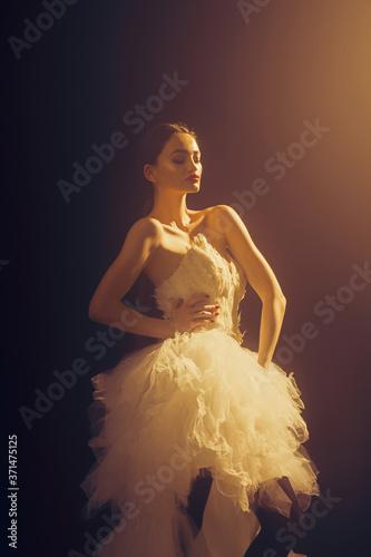 Photo Woman in long evening dress, stunning fantastic model.