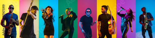 Fotografía Collage of portraits of 8 young emotional talented musicians on multicolored background in neon light