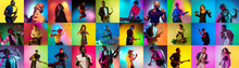 Collage Of Portraits Of 17 Young Emotional Talented Musicians On Multicolored Background In Neon Light. Concept Of Human Emotions, Facial Expression, Sales. Playing Guitar, Singing, Dancing, Jumping.