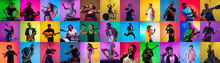 Collage Of Portraits Of 21 Young Emotional Talented Musicians On Multicolored Background In Neon Light. Concept Of Human Emotions, Facial Expression, Sales. Playing Guitar, Singing, Dancing, Jumping.