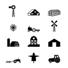 Farm Buildings, Set Of Vector ...