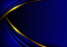 Abstract Background In Dark Blue Tones Arranged In Layers With Golden Curves.