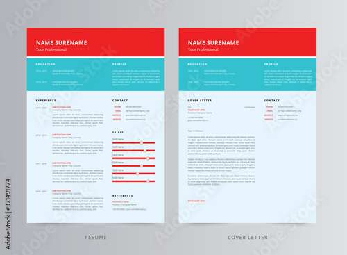 Fototapety, obrazy: Professional Resume/CV And Cover Letter Template Design