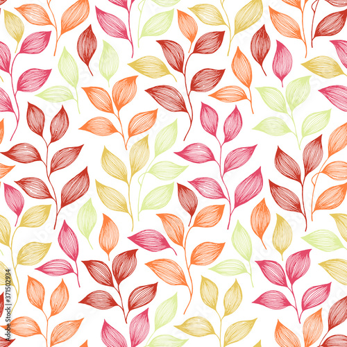 Fotografie, Obraz Tea leaves seamless pattern design. Herbal sketchy background
