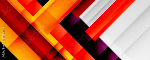 Obraz na plátne Geometric abstract backgrounds with shadow lines, modern forms, rectangles, squares and fluid gradients