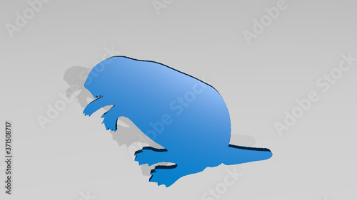 Photo beaver 3D drawing icon on white floor - 3D illustration for animal and backgroun