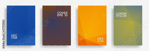Fototapeta Hexagonal halftone pattern cover pages vector creative design.
