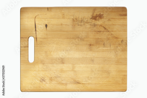 Leinwand Poster wooden cutting board isolated on a white background