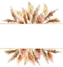 Watercolor Tropical Banner Wit...