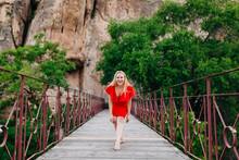 Happy Woman On Saint Paul Bridge In Cuenca, Spain