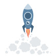Space rocket flying to the sky vector flat illustration isolated on white background. Modern space rocket starts up launch, innovation technology, space travel concept.