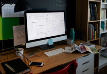 Desk Of Architecture With Comp...