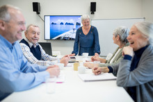 Group Of Active Seniors Attending Seniors Education Course