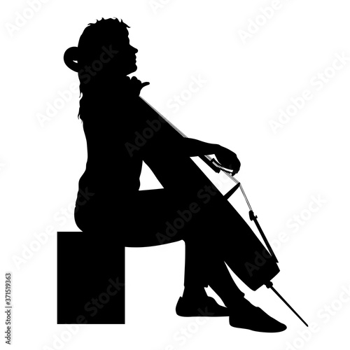 Cuadros en Lienzo Silhouettes a musician playing the cello on a white background