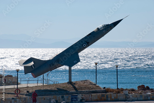 Athens, Greece, August 2020: Retired Lockheed F-104 Starfighter jet Canvas Print