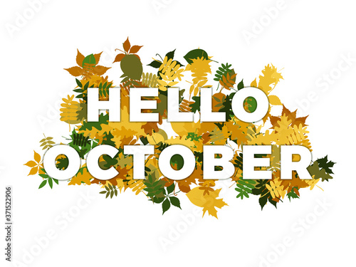 Photo Phrase HELLO OCTOBER with smooth shadows on a pile of autumn leaves