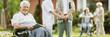 Leinwanddruck Bild Elderly spending time in the nursing home garden